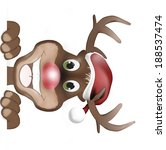 reindeer with christmas hat and ... | Shutterstock . vector #188537474