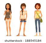 cute teenage girls in spring or ... | Shutterstock .eps vector #188545184