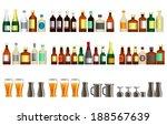 alcohol bottles and beer   Shutterstock .eps vector #188567639