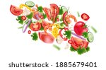 vegetables salad flying with... | Shutterstock .eps vector #1885679401
