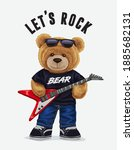 let's rock slogan with bear toy ... | Shutterstock .eps vector #1885682131
