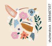creative hummingbirds with... | Shutterstock .eps vector #1885687357