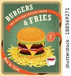 vintage fast food poster design ... | Shutterstock .eps vector #188569271