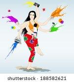 multitasking super mother with... | Shutterstock .eps vector #188582621
