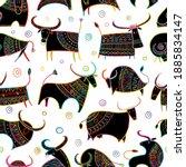 funny bulls collection. lunar... | Shutterstock .eps vector #1885834147