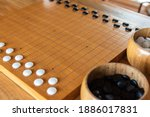 Closed Up Wooden Desk Of Go ...