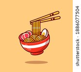 ramen noodle egg and meat with...   Shutterstock .eps vector #1886077504