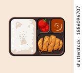 delicious japanese katsu bento... | Shutterstock .eps vector #1886096707