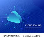 cloud scaling solution. cloud... | Shutterstock .eps vector #1886136391