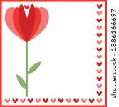 Single Red Flower And Hearts...