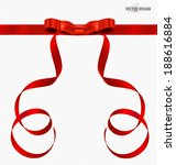 red gift bows and red ribbons.... | Shutterstock .eps vector #188616884
