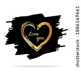 gold hearts. hand drawn hearts... | Shutterstock .eps vector #1886169661