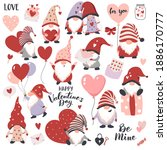 valentines day gnomes with... | Shutterstock .eps vector #1886170777