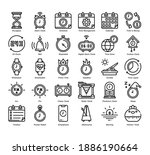 time 30 outline icons set. icon ...