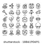 love 30 outline icons set. icon ...