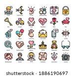love 30 color filled outline...
