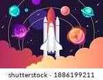 space shuttle and solar system. ... | Shutterstock .eps vector #1886199211