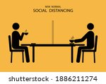 new normal  people drinking... | Shutterstock .eps vector #1886211274