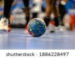 Small photo of Buzau, Romania - November 22,2020, Handball ball during the game between SCM Gloria Buzau vs Nantes Atlantique Handball ( 27 - 21 ) - 2020-2021 Women's EHF European Cup - Qualification Round 3