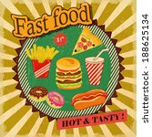 fast food retro  poster | Shutterstock .eps vector #188625134