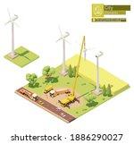 vector low poly wind turbines... | Shutterstock .eps vector #1886290027