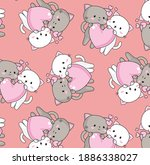 lovers cat seamless pattern for ...   Shutterstock .eps vector #1886338027