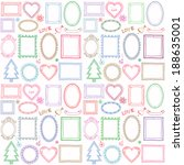 seamless colorful doodle frame... | Shutterstock .eps vector #188635001