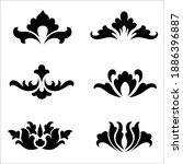 ornamental flowers silhouette....   Shutterstock .eps vector #1886396887