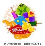 creative happy makar sankranti... | Shutterstock .eps vector #1886402761