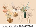 set of bouquets in vases in...   Shutterstock .eps vector #1886407741