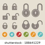 Set of lock  icons and keys. Vector illustration EPS 10