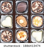 different chocolate pralines.... | Shutterstock . vector #1886413474