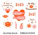 covid valentines day 2021 set...   Shutterstock . vector #1886414344