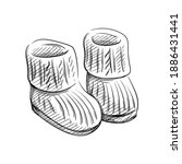 hand drawn sketch of knitted... | Shutterstock .eps vector #1886431441