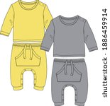 baby clothes  flat sketch.... | Shutterstock .eps vector #1886459914