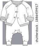 baby clothes  flat sketch.... | Shutterstock .eps vector #1886459917