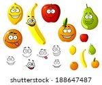 lemon  apple  orange  banana ... | Shutterstock .eps vector #188647487