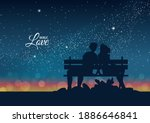 silhouette of couple in love on ...   Shutterstock .eps vector #1886646841