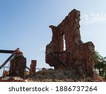 Ruins of a building preserved from the time of the Battle of Stalingrad. The Second World War.