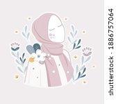 beautiful muslim women wearing...   Shutterstock .eps vector #1886757064
