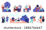 elderly people. seniors outdoor ... | Shutterstock .eps vector #1886766667