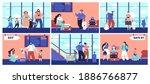 airport tourist. couple...   Shutterstock .eps vector #1886766877