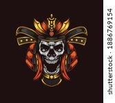 samurai skull illustration... | Shutterstock .eps vector #1886769154