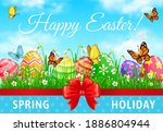 happy easter holiday vector... | Shutterstock .eps vector #1886804944