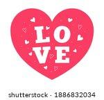 love text inside red heart... | Shutterstock .eps vector #1886832034
