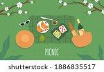 spring picnic. avocado toast....   Shutterstock .eps vector #1886835517
