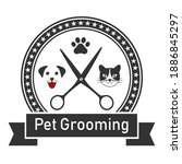 dog and cat haircut emblem for... | Shutterstock .eps vector #1886845297