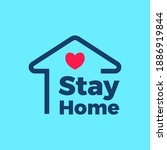 stay home flat color vector icon | Shutterstock .eps vector #1886919844