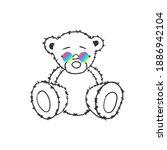 trendy bear. doodle bear.... | Shutterstock .eps vector #1886942104