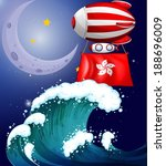 Illustration of a floating balloon with the flag of Hongkong